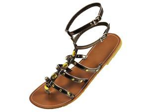 Bronze Strappy Thong Gladiator Style Flat Sandals