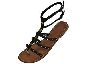 Black Strappy Thong Gladiator Style Flat Sandals