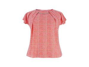 Coral & White Plus Size Top With Adorned Neck Line
