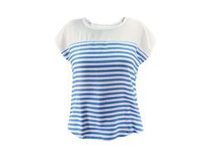 Blue & White Stripe Woven Short Sleeve Top