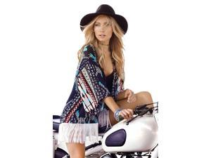 Tribal Print Lightweight Kimono Cover-Up Top With Fringe