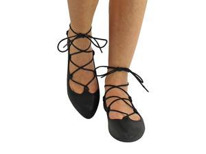 Black Gladiator Style Lace-Up Ballet Flats