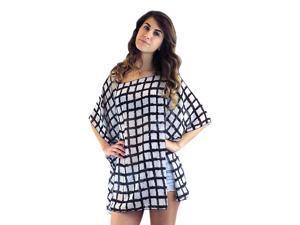 Black & White Print Lightweight Sheer Poncho Top