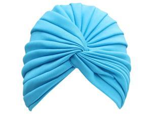 Turquoise Radiant Pleated Turban Bathing Cap