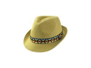 Beige Woven Straw Fedora Hat With Aztec Band