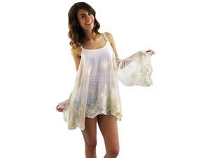 Ivory Flared Off The Shoulder Sheer Lacey Cover-Up Top