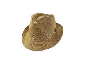 Tan Beige Woven Fedora Hat With Metal Anchor Charm