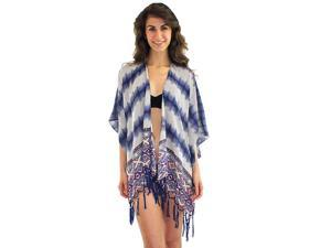Blue Multicolor Aztec Tribal Print Kimono Top With Beaded Tassels