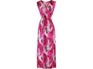 Hot Pink Tropical Leaf Empire Waist Maxi Sun Dress