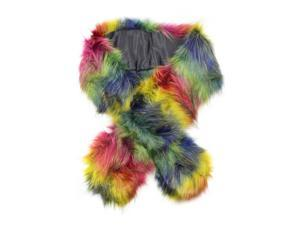 Rainbow Faux Fur Neck Warmer Scarf