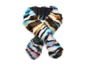 Blue Colorful Faux Fur Neck Warmer Scarf