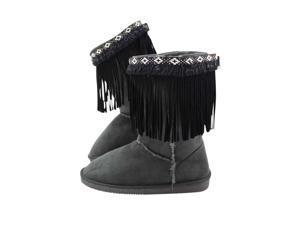 Black Tribal Pattern Trim Boho Fringe Boot Topper