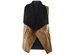 Brown Vegan Leather Fur Lined Vest With Collar