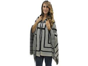Beige & Black Thick Knit Poncho Style Shawl Top With Hood