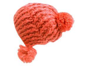 Coral Soft Knit Triple Pom-Pom Beanie Hat