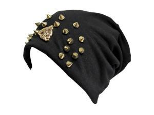 Black Slouchy Spike Studded Hat With Tiger Face