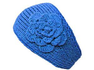 Teal Blue Knit Hand Made Headband With Flower Detail