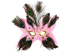 Pink Butterfly Peacock Masquerade Feather Mask