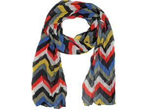 Black Gray Yellow Red Zigzag Stripe Crinkle Scarf