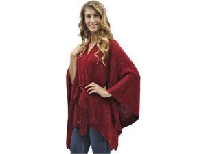 Burgundy Kimono Style Sequin Accent Shawl Wrap With Belt