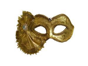 Gold Brocade Venetian Masquerade Costume Mask