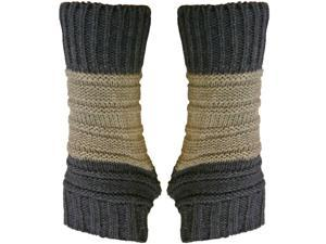 Blue Block Stripe Knit Fingerless Gloves