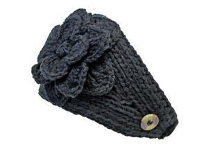 Black Hand Knit Crochet Wide Headband