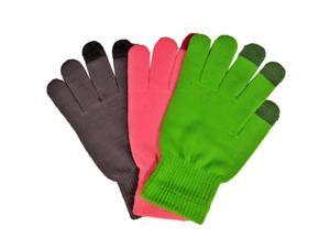 Grey Green & Pink 3 Pack Texting Gloves