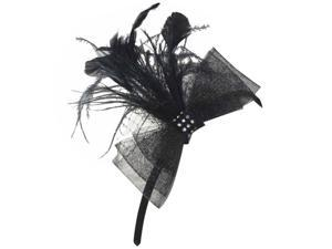 Black Fascinator Headband With Bow & Feathers