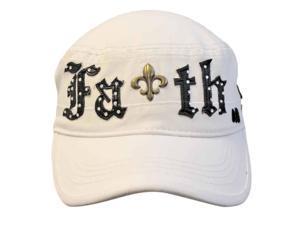 White Cotton Military Cap Hat With Faith Emblem