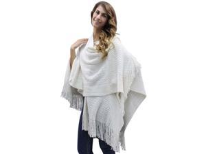 Ivory Metallic Laced Knit Shawl Wrap