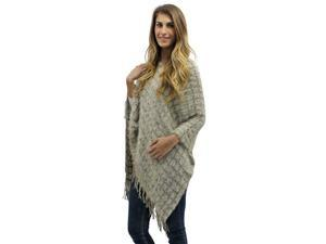 Taupe & Beige Two-Tone Fuzzy Eyelash Knit Poncho With Fringe