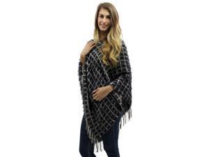 Black & Beige Two-Tone Fuzzy Eyelash Knit Poncho With Fringe