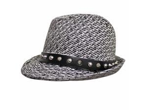 Black & White Fedora Hat With Spikes