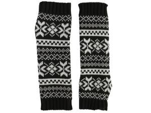 Brown & White Snowflake Knit Arm Warmers