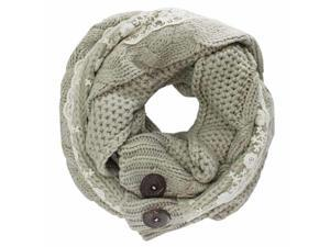 Beige Cable Knit Neck Wrap Scarf With Lace & Button Trim