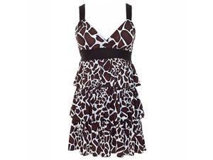 Brown Black & White Animal Print X-Back Layered Ruffle Dress