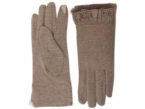 Beige Wool Gloves With Lace Trim & Texting Tips