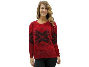 Red Snowflake Pattern Soft Fuzzy Eyelash Knit Sweater