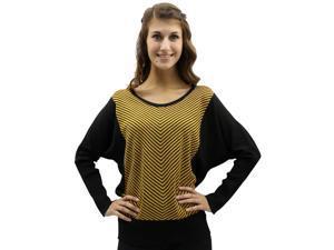 Yellow & Black Chevron Striped Crew Neck Knit Sweater