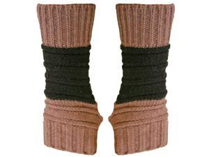 Mauve Block Stripe Knit Fingerless Gloves