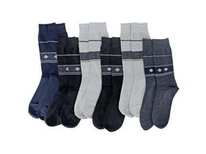 Men's Dark Color Tribal Band Knit 6 Pack Assorted Dress Crew Socks