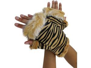 Beige Zebra Half Gloves With Fur Trim