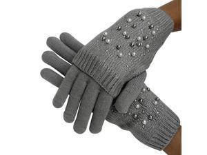 Gray Rhinestone & Pearl Knit Arm Warmer Convertible Mitten Gloves