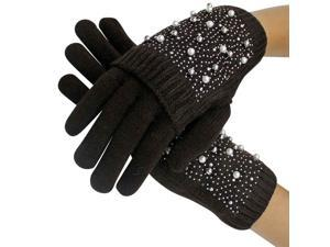 Brown Rhinestone & Pearl Knit Arm Warmer Convertible Mitten Gloves