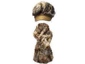 Tan & Brown Animal Print Plush Hat & Scarf Set