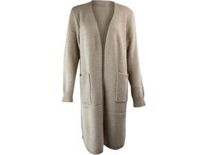 Beige Knit Open Front Cardigan Sweater Coat With Pockets