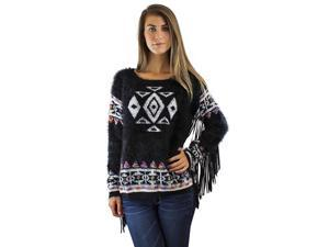 Black & White Aztec Knit Sweater With Fringed Sleeves