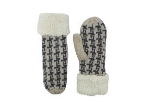 Ivory Wool Blend Hounds Tooth Mittens With Fuzzy Cuff