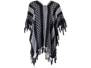 Black & White Mixed Pattern Knit Poncho With Tassel Fringe